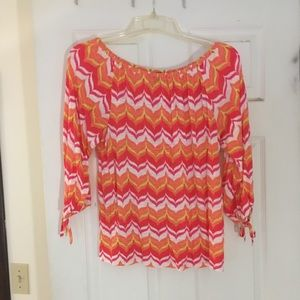 Ann Taylor graphic pattern shirt in bright colors